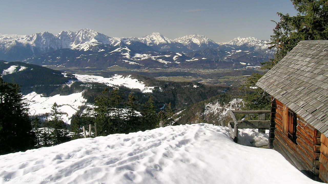 Hütte am Weg zum Gipfel des Ochsenberges