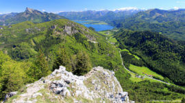 Schober, herrlicher Ausblick am Gipfel in Richtung Wolfgangsee
