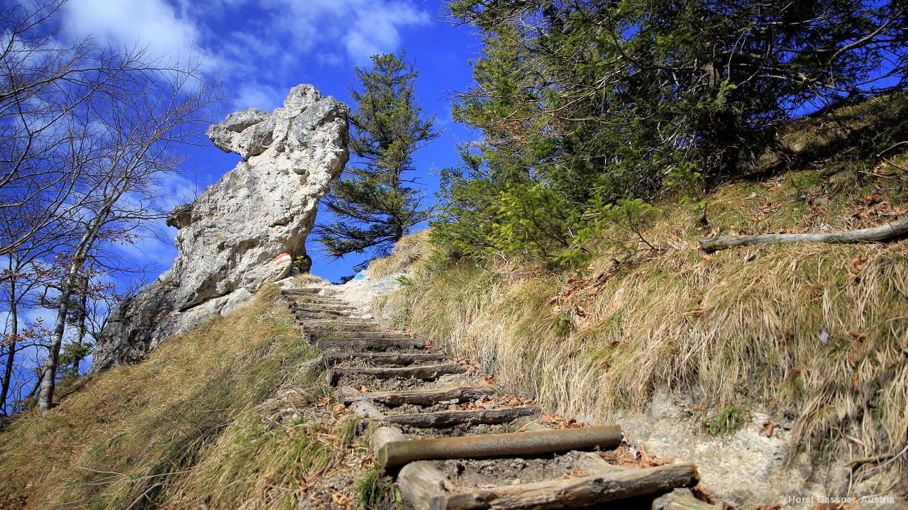 Nockstein - Treppe hinauf zum Glücksplatz