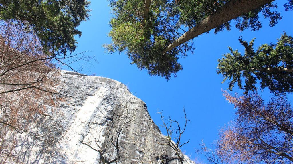 Der Plombergstein am Wolfgangsee von unten