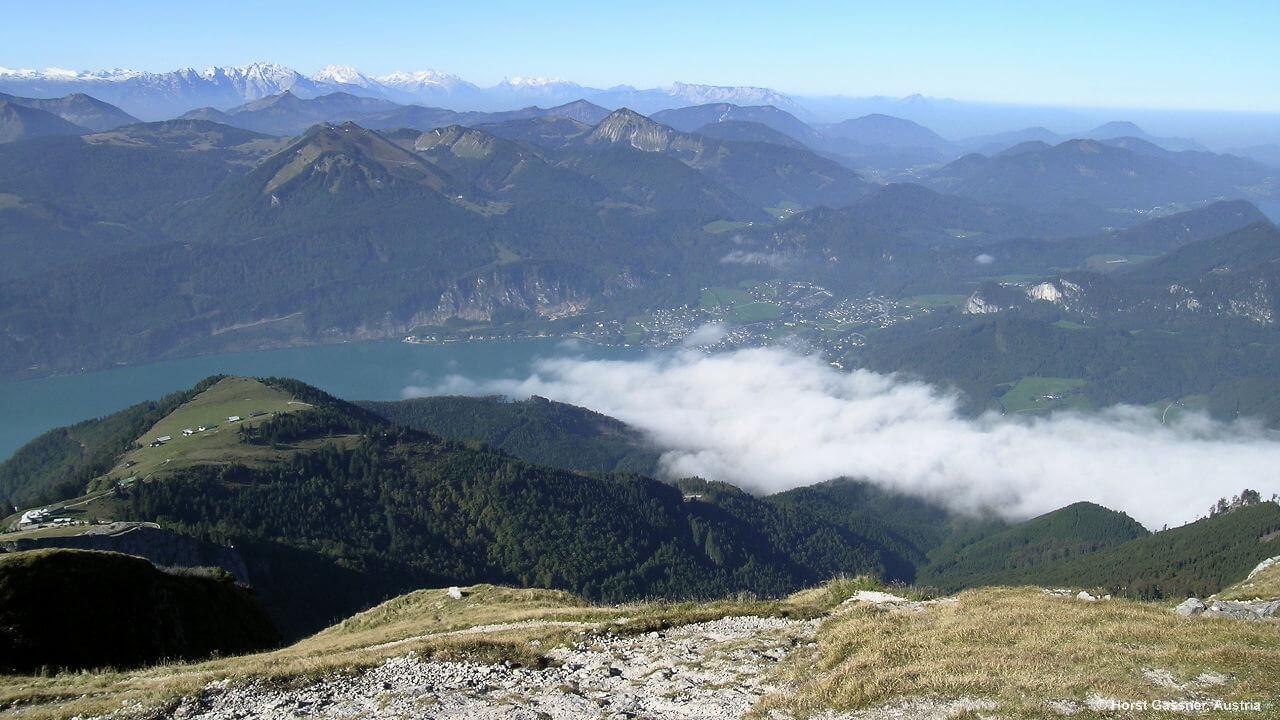 Blick vom Gipfel Richtung Wolfgangsee und St. Gilgen