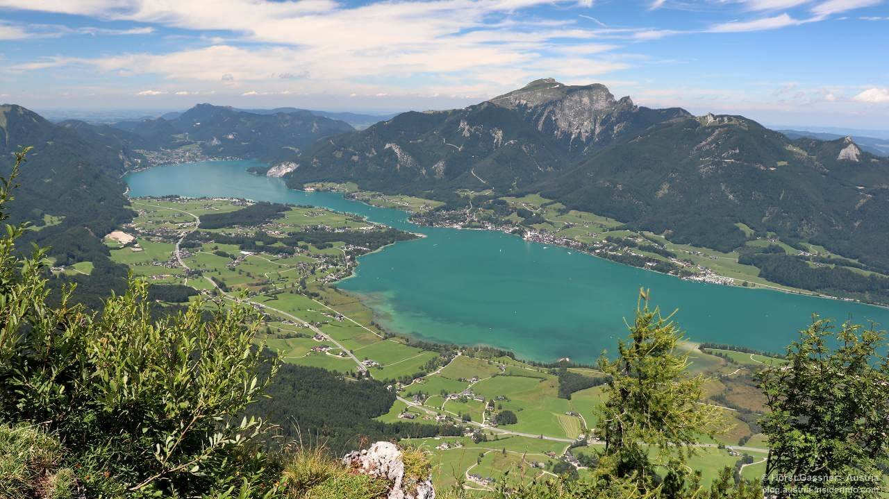 Sparber am Gipfel, Blick in Richtung Wolfgangsee