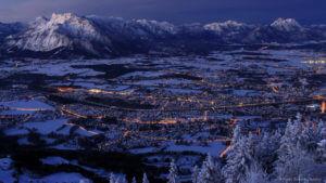Blick nach Salzburg kurz vor Sonnenaufgang