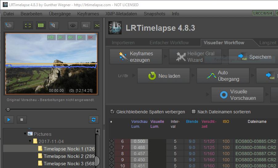 LRTimelapse - Hauptbildschirm nach der Auswahl des Verzeihnisses