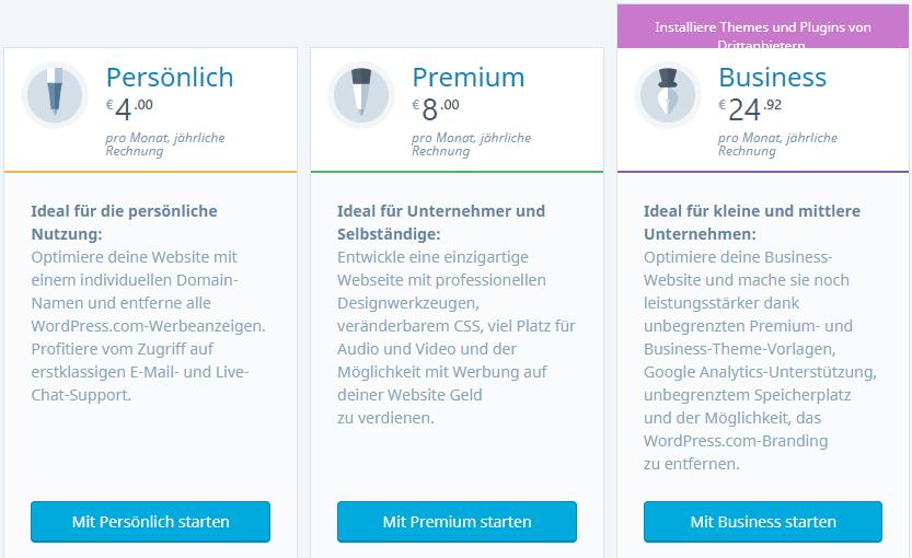 WordPress.comn - die Preise