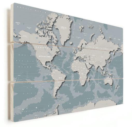 Coole Weltkarte auf Holz