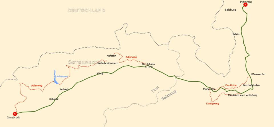 Salzburg - Innsbruck, allererste Planung