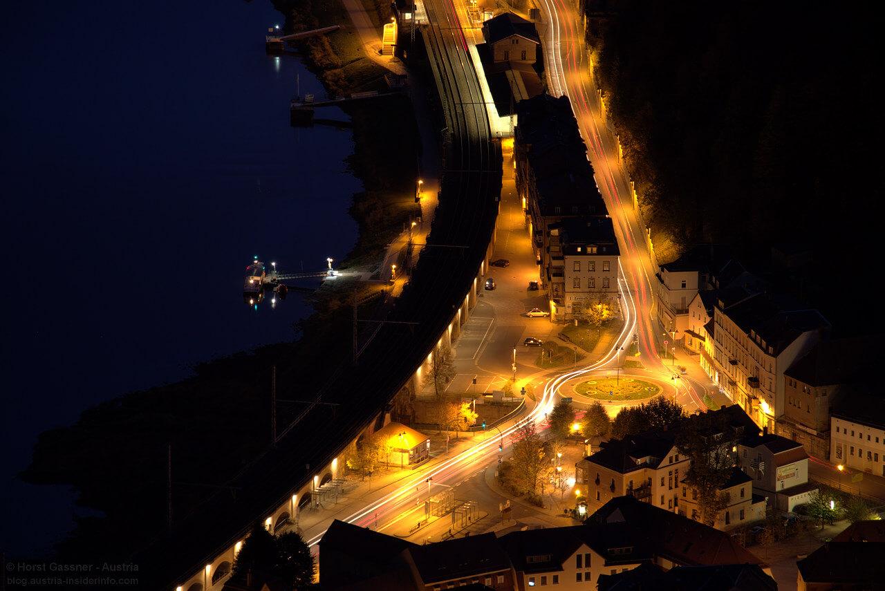 Kreisverkehr Königstein bei Nacht