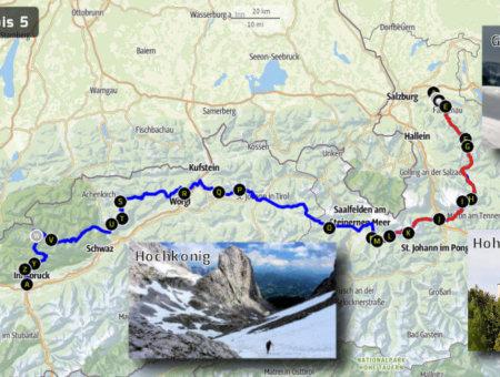Weitwandern Salzburg – Innsbruck: Route Tag 1-5