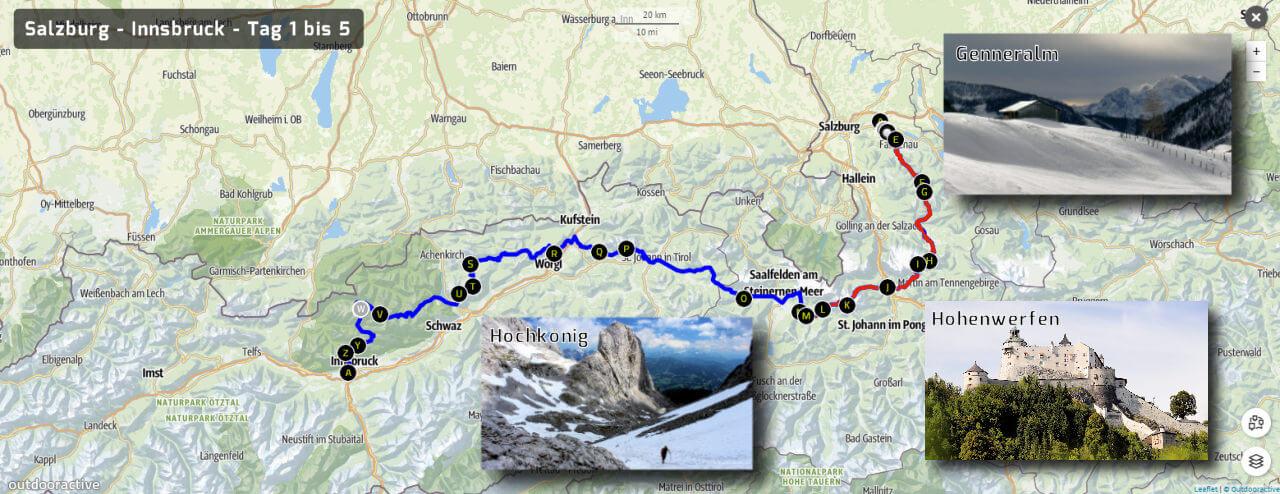 Weitwandern Salzburg - Innsbruck Tag 1-5