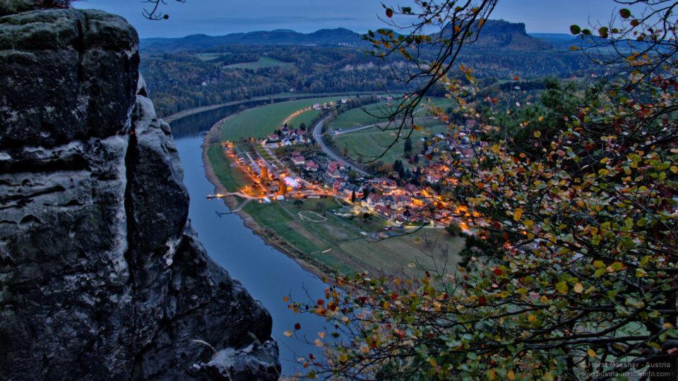 Blick von der Basteibrücke nach Wehlen