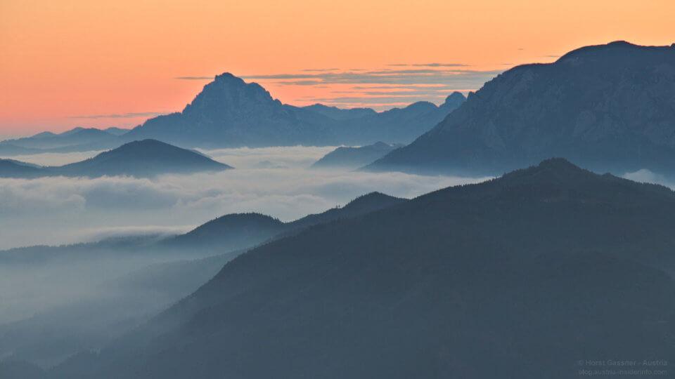 Nebelschwaden - Blick zum Traunstein
