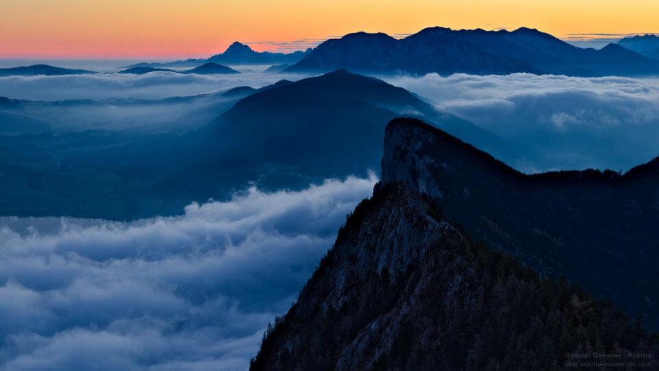 Nebelschwaden - Drachenwand im Vordergrund