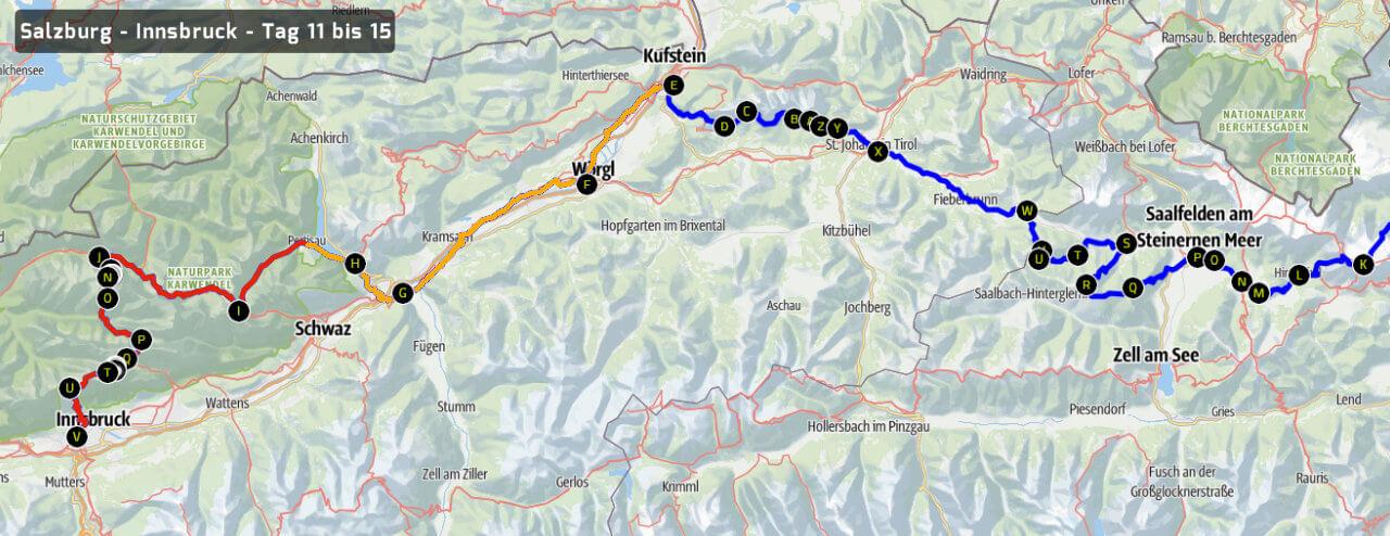 Geplante Route Salzburg - Innsbruck - Tag 11-15