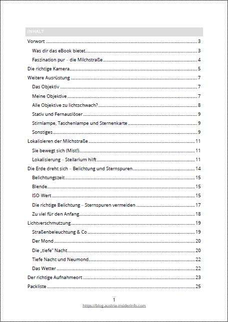 E-Book Milchstraße - Inhalt 1