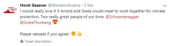 Tweet an Arnold Schwarzenegger und Greta Thunberg