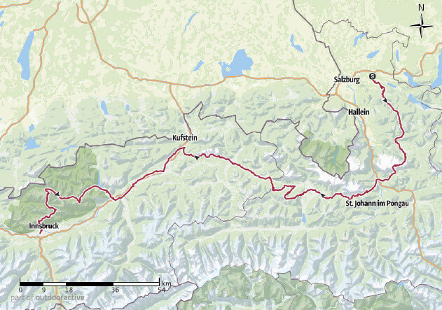 Geplante Route Salzburg - Innsbruck - der Überblick