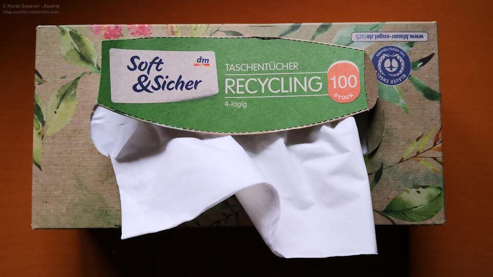 Taschentücher aus Recycling Papier - nachhaltig