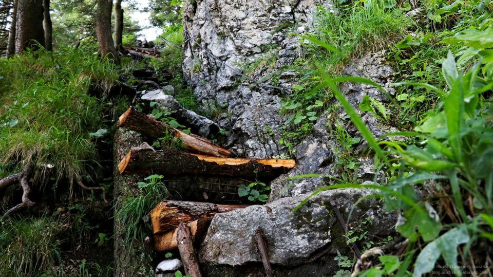 Holzstufen auf den Schober - Gefahren beim Wandern einschätzen